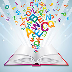 Illustration of an open book with colorful letters coming out of it
