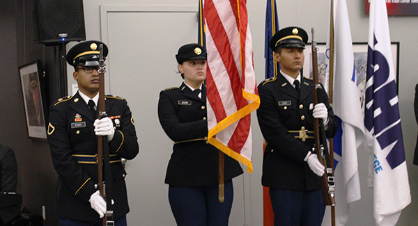 CUNY Army ROTC Color Guard commencing the ceremony