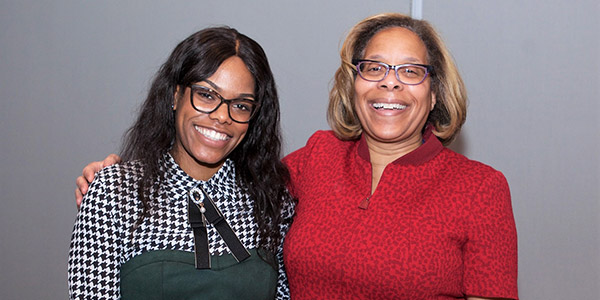 Andrene Wright and President Karol V. Mason are all smiles at the Abby Stein Lecture