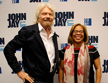 Richard Branson with President Karol Mason