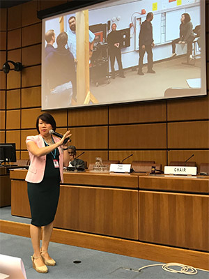 Fern Chan speaking at United Nations Office of Drug and Crime in Vienna