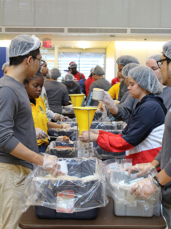 Working together, students were able to pack over 10,000 meals during community hour.