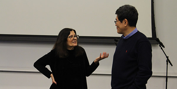Professor Maria Volpe engaged in a conversation with Provost Yi Li