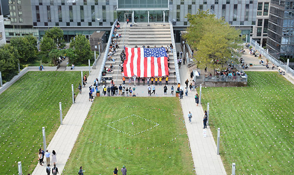 A view of the flag from Haaren Hall