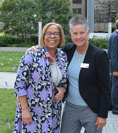 Mason with Carol Kashow, Director of Athletics, Recreation and Intramurals