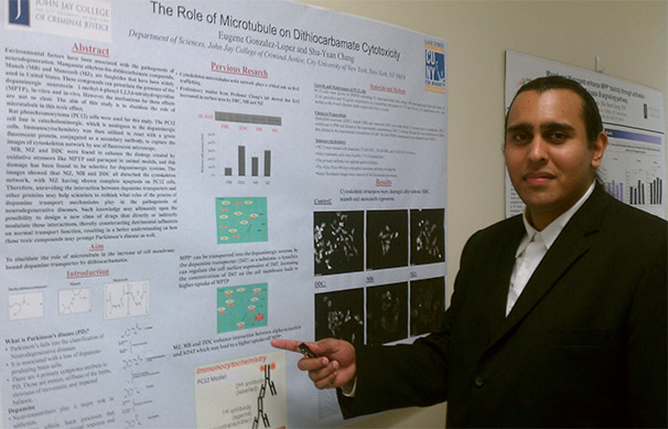 Eugene Gonzalez-Lopez presenting his research at John Jay College.