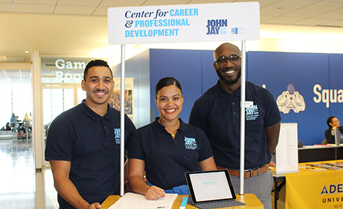 (left to right) Jovanny Suriel, Associate Director of the MPA Career Services; Soheila Fortuna, Program Advisor for CUNY Edge; and Muldy Flecher, Apple Corps Internship Counselor