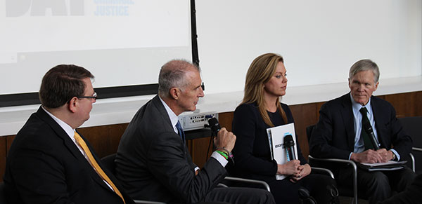 From left to right, Larry Obhof, Ohio Senate President, Mark Holden, General Counsel of Koch Industries, Holly Harris, Executive Director of the Justice Action Network and Bill Keller, Editor of The Marshall Project take part in special panel that analyzed the impact of the Midterm Elections on criminal justice reform.