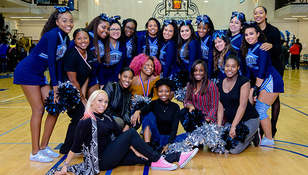 Cheerleaders at the John Jay Homecoming
