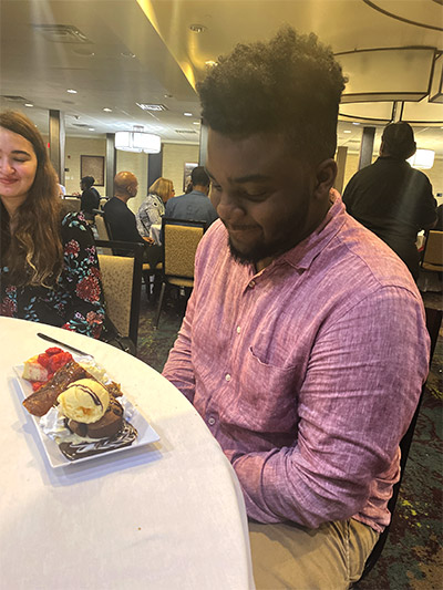 Bethea getting an unexpected birthday treat on the trip