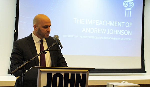 Woller telling the story of Johnson's impeachment
