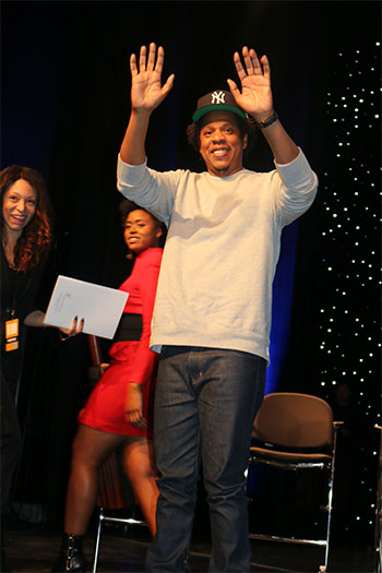 Jay-Z rousing the crowd at John Jay