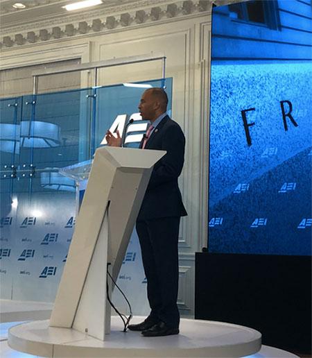 Congressman Jeffries speaking at Awad's criminal justice reform event