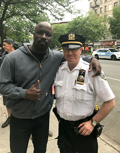 Khosh with actor Mike Colter