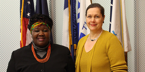 (left to right) Fainess Lipenga and Martina Vandenberg proudly stand together as advocates for labor trafficking victims