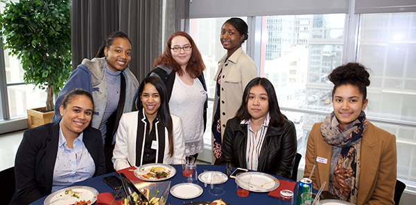 Students at Law Day 2019 sitting around table
