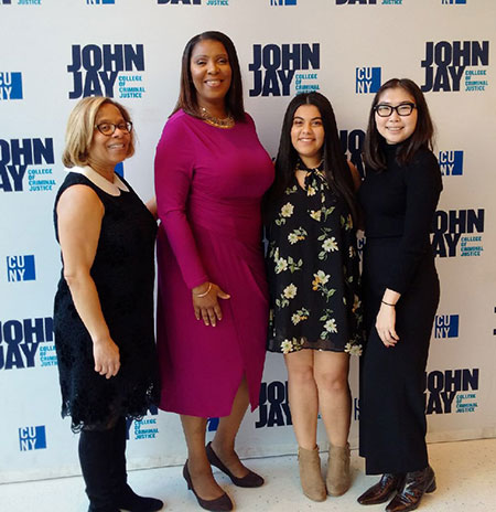 (left to right) President Karol V. Mason, New York State Attorney General Letitia James, former Student Council President Jasmine Awad, and former Student Council Vice President Elza Kochueva