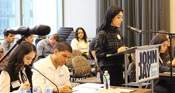 John Jay's Samira Taj delivers the opening statement on behalf of the plaintiff
