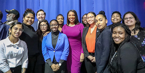 John Jay students enjoying some time with New York Attorney General Letitia James