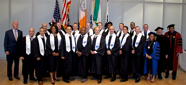 The first cohort of the NYPD/John Jay Executive Leadership Master's Degree Program in Criminal Justice