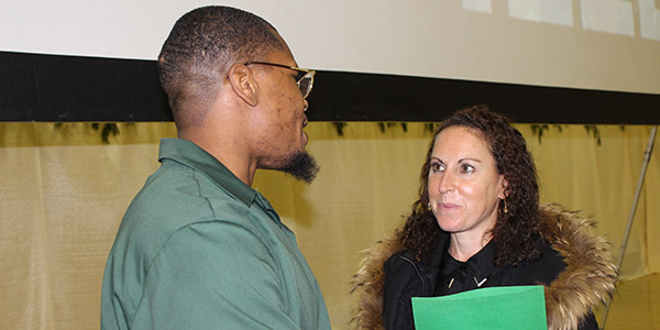 Baz Dreisinger talking with a Prison-to-College Pipeline student
