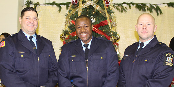 (left to right) Correction Officers Steven Drapala, Anthony Brown, James Terwilige
