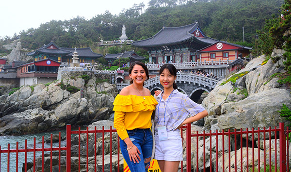 Pacheco sightseeing with a friend in South Korea