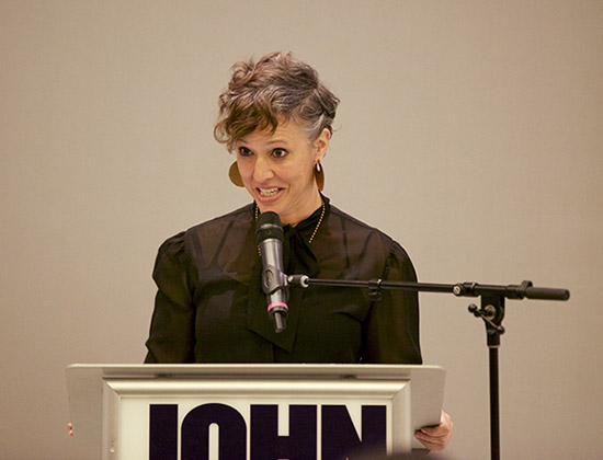 Fischer speaking during the fifth annual Abby Stein Lecture