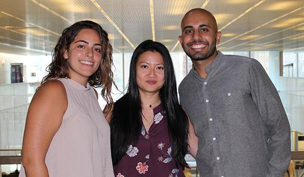 (left to right) Ximena Garcia-Lambas, SASP Peer Program Associate; Nancy Yang, Associate Director of First Year Programs; Jay Chopra, SASP Peer Program Coordinator
