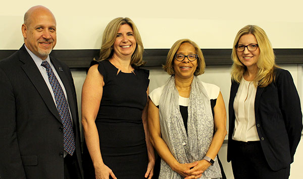 Diego Redondo, Director of Public Safety & Risk Management; Angela Jackson, FBI Victim Specialist; Karol V. Mason, President; Barbara Daly, FBI Special Agent