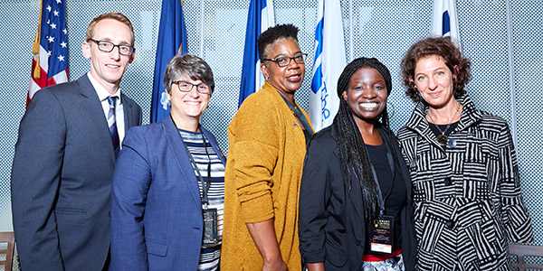 (left to right) Jake Horowitz, The Pew Charitable Trusts, Ana Bermudez, Commissioner, New York (NY) Dept. of Probation, DeAnna Hoskins, JustLeadershipUSA, Ebony Ruhland, University of Cincinnati and Amy Solomon, The Laura and John Arnold Foundation