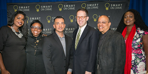 (left to right) Kimberly Foxx, State's Attorney for Cook County (IL), Candice Jones, Public Welfare Foundation, Jason Hernandez, Open Society Foundation, G.T. Bynum, Mayor of Tulsa (OK) and Ashley Allison, Leadership Conference on Civil and Human Rights
