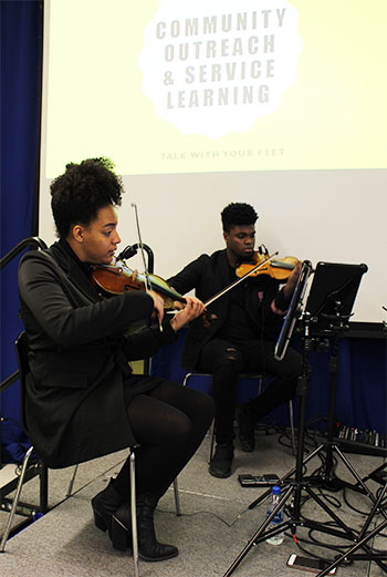The string quartet entertained the audience