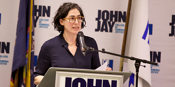 Sarah Koenig calls on journalists and John Jay students to fight for progress during her acceptance speech.