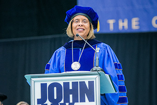 President Mason addressing the John Jay Class of 2018