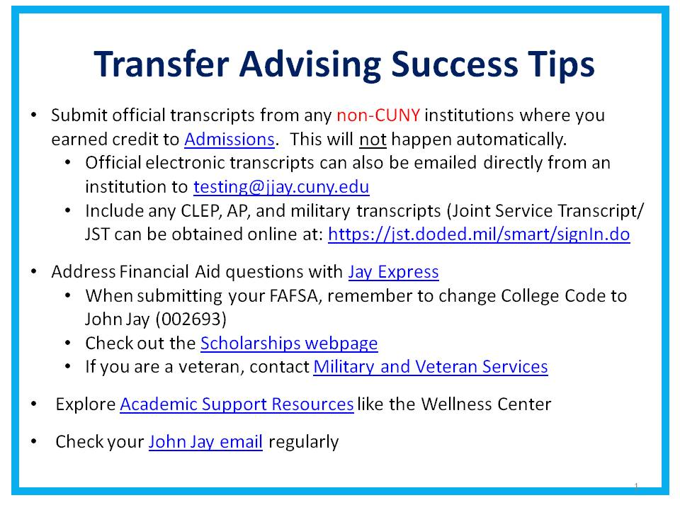 Transfer Advising Success Tips
