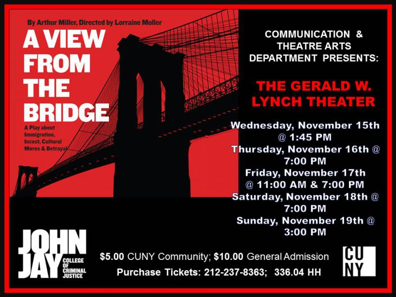 a view from the bridge dramatic The two one acts opened on broadway in 1955 a memory of two mondays took place in a wearhouse in manhattan, and a view from the bridge, in red hook hence the title for the full eveing, a view from the bridge, because the plays represented both manhattan and brooklyn the playwright was looking at both.