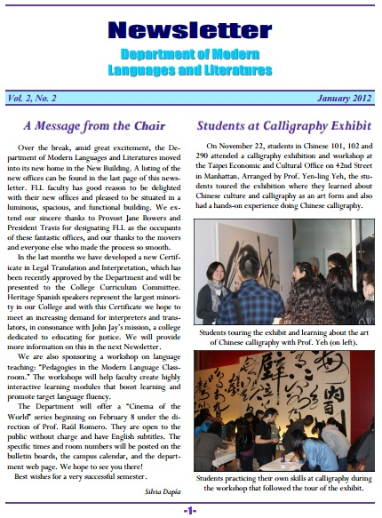 Newsletter January 2012