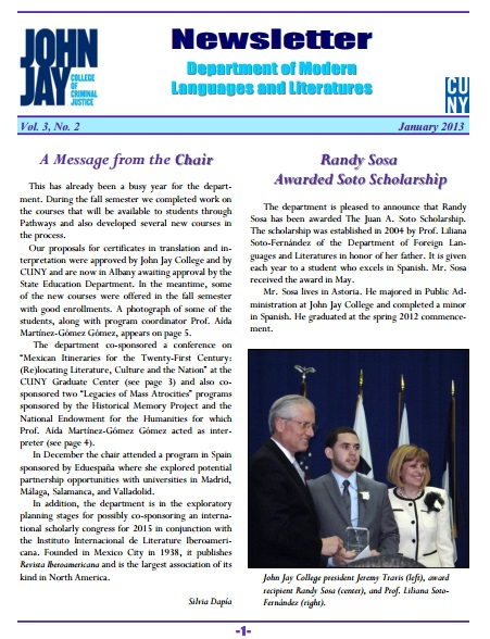Newsletter January 2013