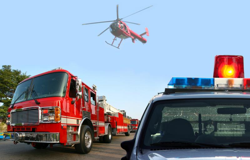 Helicopter, Police car and fire truck