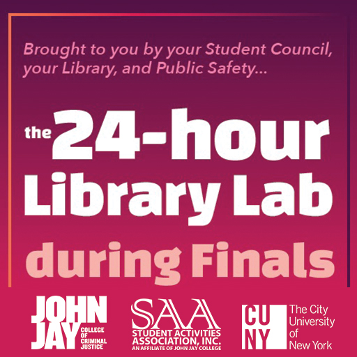 24 Hour Library hours during finals week flyer.