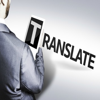Man holding the letter T of the word Translate