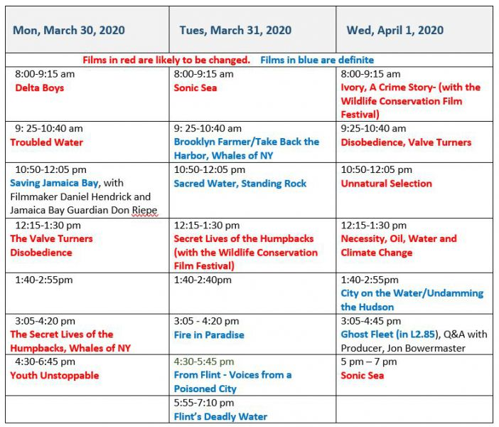 Schedule as of March 10, 2020