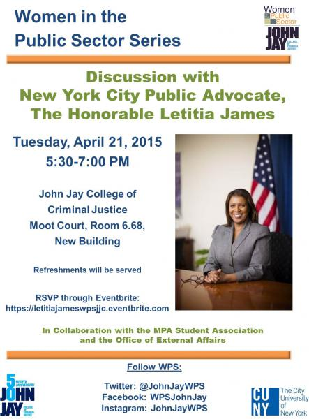 Discussion with New York City Public Advocate The Honorable LETITIA JAMES Flyer