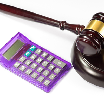 Image of calculator and a gavel