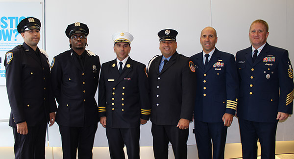 NYPD, FDNY, and Coast Guard service members