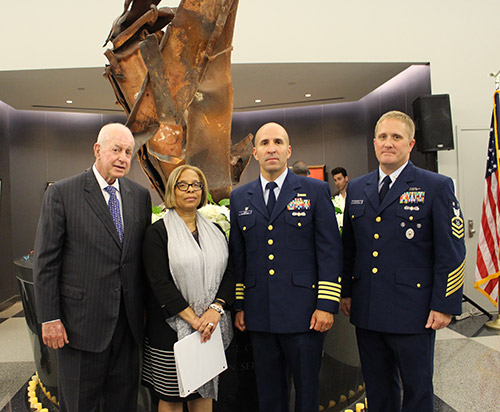 Jules Kroll, Chair of John Jay College Foundation Board of Trustees; Karol V. Mason, President of John Jay College; Captain Jason Tama, Commander, U.S. Coast Guard Sector New York, Captain of the Port; and Command Master Chief Marcus Evans, U.S. Coast Guard