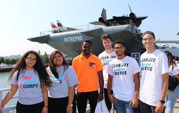 Pack-a-thon volunteers Rosalma Pineda '21; Domenica Ramirez-Perez '18; Olivier Wetshindjadi '19; Jack Nugent '23; Manuel Peralta '23; and Carlos Gomez '23