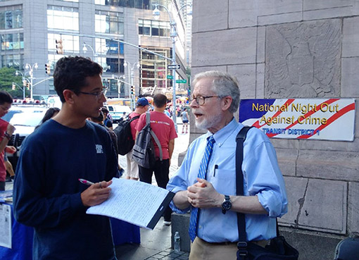 John Jay student Jesse Funtleyder '21 chats with Assemblymember Richard N. Gottfried