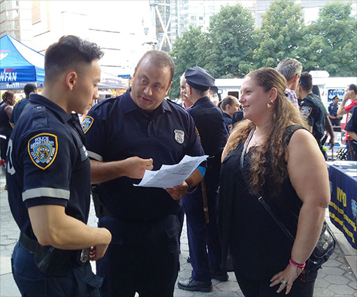NYPD officers going over the evening's event